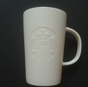 Starbucks 12 ozWhite etched siren mermaid mug 2014